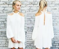 FREE PEOPLE Womens Drift Away Cold Shoulder Dress Tunic Blouse Top XS S M L