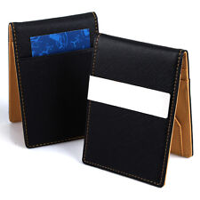 Ultra Slim Mens Money Clip PU Leather Wallet Credit Card Holder Purse Yellow