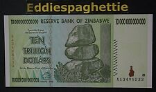 Zimbabwe 10 Trillion Dollars 2008 Prefix AA UNC P-88