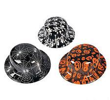 12 Plastic Halloween Derby Hat Assortment Party Favor SPIDERS PUMPKINS SKULLS