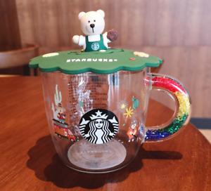 New Starbucks Color-Change Glass Coffee Milk Cup Rainbow Handle with 3D Lid