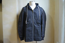 RICK OWENS DRKSHDW AMAZING BLACK HOODED JACKET WITH LEATHER SLEEVES S L RARE
