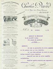 Dépt 59 - Lille - Superbe Pâte Calorifuge Charles David du 14/10/1913 AVoir !!!!