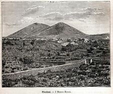 NICOLOSI: I MONTI ROSSI  Catania. Sicilia. Sicily. Trinacria. Stampa Antica.1892