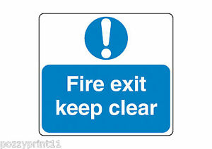 FIRE EXIT KEEP CLEAR SIGN corflute signage work business stairs