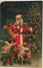 za4 Santa Claus St Nick Christmas Tree Candles 1907 Angels Toy Sack Vintage PC