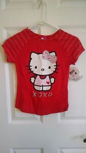 Girls Hello Kitty Valentine T Shirt Red XOXO Love Heart Two Sided Med 7/8 NWT