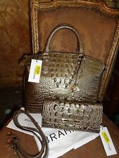 BRAHMIN NWT MED DUXBURY PEWTER DOMED CROCO EMBOSS SATCHEL BAG w/ SOFT CHECKBOOK