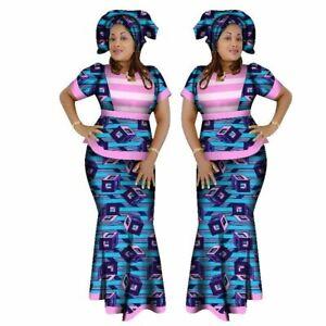 African Women 2 Piece Set Dashiki Cotton Print Wax Crop Top and Skirt X11025