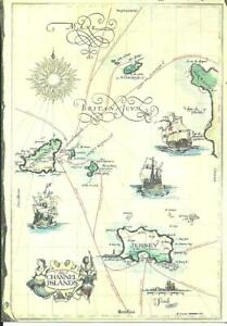 THE CHANNEL ISLANDS (COLOUR PRINTED MAP POSTCARD) c1979