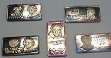 5 .999 silver art bars Hamilton Mint : Bell, Jefferson, Byrd, Einstein, Hamilton