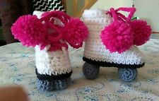 "CROCHET HANDMADE ROLLER SKATES BABY BOOTIES 0-6 month 4"" sole"