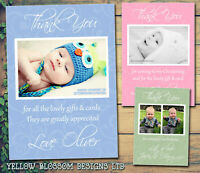 10 Personalised Thank You Cards Birthday Christening Swirls Old Fashioned Photos