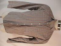 Billy Reid Mens Beige Plaid Long Sleeve Cotton Standard Cut Shirt XL