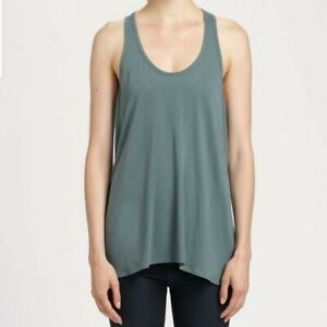 Helmut Lang Shirt S Jersey Kinetic High Low Tank Top Cami Meadow Olive Green