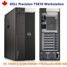 DELL T5810 32GB RAM E5-1650 V3 3.5GHz 500GB SSD 1TB HDD Quadro K4200 4GB Video