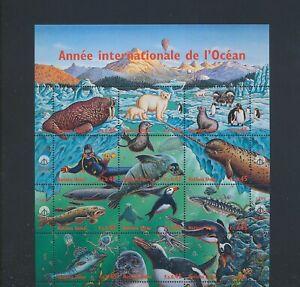 XC89293 United Nations 1998 fish shell ocean year sealife XXL sheet MNH