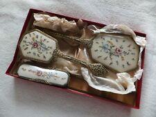 Vintage 4 Piece Regent of London Petit Point Vanity / Dressing Table Set Boxed