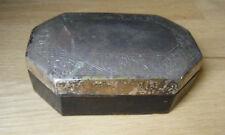 Vintage Wood Silver Etched Lid Tabacco Cigarette Desk Box