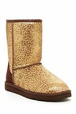 UGGS Ugg Sale New Classic Short Metallic Gold Leopard Calf Hair Boots Booties 5