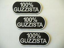PATCH MOTO GUZZI 100% GUZZISTA N.3 RICAMATE TERMOADESIVE  CM 8X3,5-COD.429