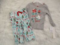 Carter's Baby Toddler Girls 2 Piece Christmas Pajamas Set 18 Mo Knit Top Fleece