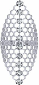 Simulated Birthstone Biglook Honeycomb Ring 925 White Gold Over Silver
