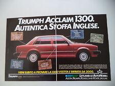 advertising Pubblicità 1983 TRIUMPH ACCLAIM 1300