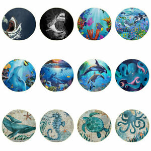 Ocean Animals Round Shape Blankets for Bed Sleep Comfy Reversible Bedding Cover
