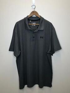 8/2 Mens Under Armour Loose Polo Golf Shirt Sz 3XL Dark Gray GC