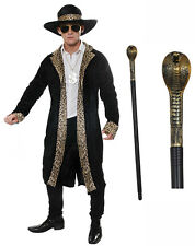 Mens Leopard Black Pimp Gangster 70s 80s Fancy Dress Costume Dollar Medallion