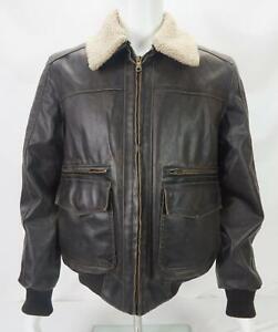 VTG Tommy Hilfiger Faux Fur Lined Bomber Jacket Black/Brown Men's Medium