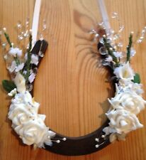 Wedding Lucky Horseshoe Bridal Gift White Roses Calla Spray Crystals Burgundy
