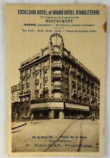 1940s French EXCELSOIR HOTEL ET GRAND HOTEL D'ANGLETERRE Card ~ Nancy, France