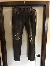 True Religion Westbrook Rocco Biker Relaxed Skinny Jeans Black Size 36