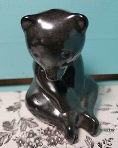 "Vintage Pigeon Forge Pottery 4"" Sitting Black Bear Signed D Ferguson"