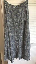 Laura Ashley UK 14 Ditsy Floral Long Skirt Blue Buttons Romantic Hippie NWOT