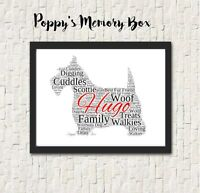 Personalised Dog Breed Word Art Print ANY BREED Christmas Gift Remembrance