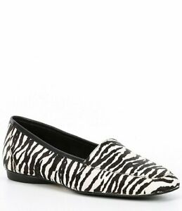 Donald Pliner Deedee Zebra Print Calf Hair Black/White Loafers Shoes Size 10M