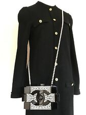 CHANEL Vintage Classic CC Logo Gold Buttons Black Long Sleeve Tunic Dress