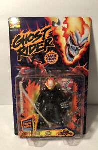 GHOST RIDER CHAIN WHIPPING ACTION Glow In The Dark W/Mini Comic Book 1995 ToyBiz