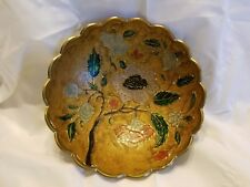 """Round Footed 6 1/2"""" Solid Brass Bowl w/ Enameled Interior & Scalloped Edges"""