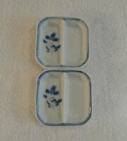 2 Small white w/ Blue Trim and Flower Trinket holders from Liling China