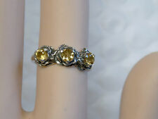 NATURAL Yellow Citrine antique 925 sterling silver 3 flower ring size 7.5 USA