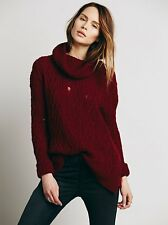 NWT Free People Love Worn Oversized Distress Cable Knit Turtleneck Sweater Sz XS