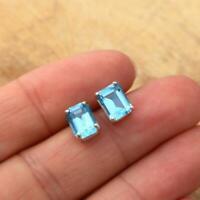 London Blue Topaz Octagonal 8 x 6mm 925 Sterling Silver Stud Earrings Gift Boxed