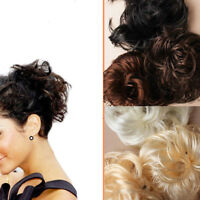 Messy Bun Hair Fake Extensions Styling Scrunchies Cover Elastic Bobbles Wavy Wig