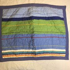"Blue Green Striped Quilted Pillow Sham Standard Pottery Barn Kids 20"" x 26"""