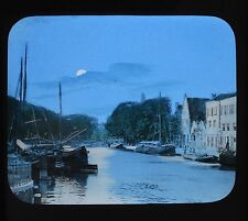 Dutch Colour Glass Magic Lantern Slide On The Spaarne  Netherlands