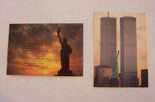 Vintage Statue of Liberty & World Trade Twin Towers New York Postcards Lot of 2